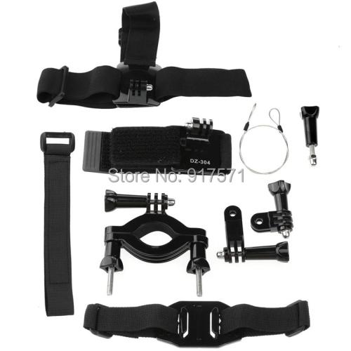Newest 6pcs/ Set Helmet Strap + Velcro Belt + Elastic Head Strap + Bike Handlebar + Elastic Wrist Strap for Gopro Hero Fast Ship(China (Mainland))