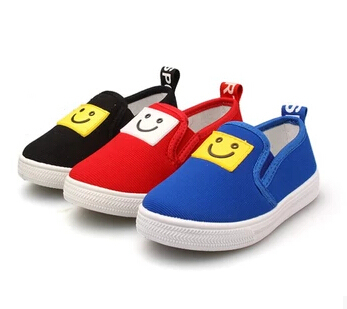 NEW 2015 Flats Shoes Kids Sneakers Children Shoes Canvas Smiley Casual Cotton Cloth Pedal Boys Girl Child Sport Shoes