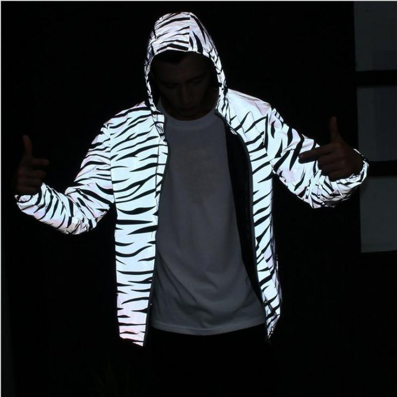 PUNKOOL Reflective Jacket Men Casual Hiphop Windbreaker 3m Reflective Jacket Men Coat Hooded Zebra Fluorescent Clothing Men(China (Mainland))
