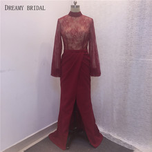 2017 Sexy Red Slits Evening Dresses High Neck Long Sleeves Illusion Lace Hand Pleated Cotton Fabric Robe De Soiree Real Photots(China (Mainland))