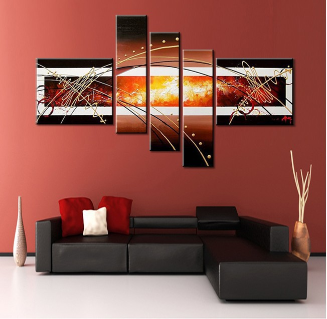 Handpainted 5 Piece Black White Red Modern Abstract Wall