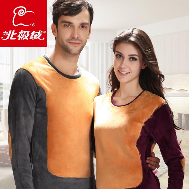 4XL super soft wool thermal underwear thickening plus velvet female male golden flower thermal set