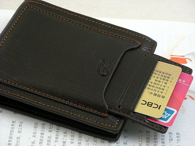 Mens Leather Wallet Pockets Card Clutch Cente Bifold Purse Outer Box(China (Mainland))