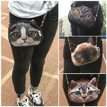 woman bags 2015 fashion handbag 3D Animal Printing Shoulder Bag cat chain bolso bandolera mujer crossbody bags for women lady