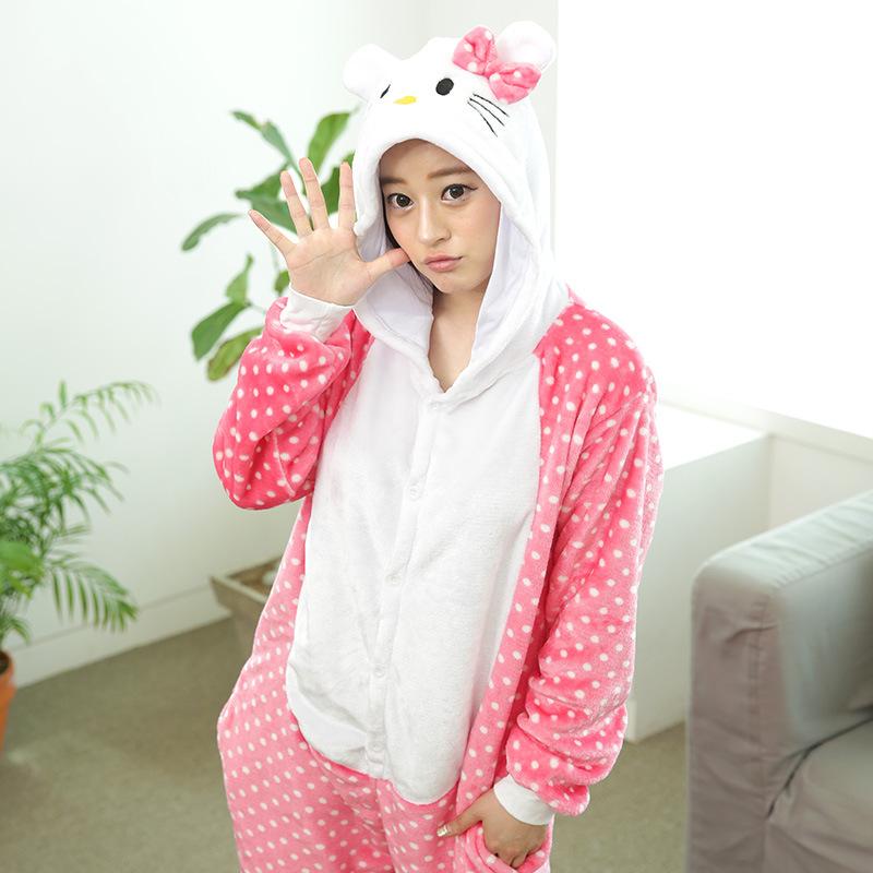 Unisex Onesies Adult Pajamas Cosplay Costume Animal Onesie Sleepwear cat(China (Mainland))