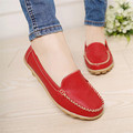 woweino Comfortable Women s Casual Flat Shoes Cute Cover Toe Vintage PU Leather Shallow Slip on