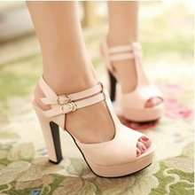 Plus size 34-43 New 2015 Summer Women Sandals Fashion Thick High Heels Party Shoes T-Strap Rome Style Ladies Beach Shoes(China (Mainland))