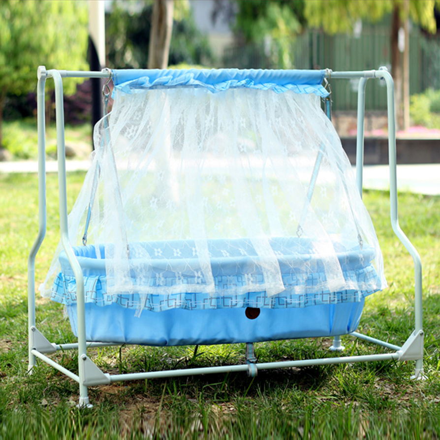 Фотография Baby swing cradle with steel frame and 100% cotton baby mat bassinet baby rocker