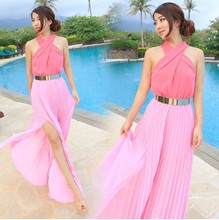 2015 new European style cross major suit Halter Waist Chiffon Dress Sexy Ladies Dress Sexy dress(China (Mainland))