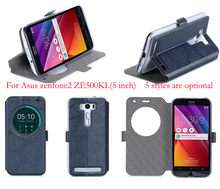 Phone cases for Asus Zenfone 2 Laser Case Sand-like Smart View Window Leather Cover for Asus Zenfone 2 Laser ZE500KL (5.0 inch)(China (Mainland))