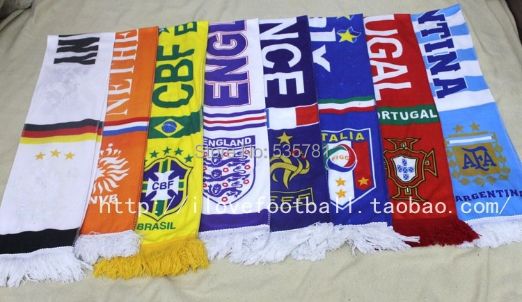free shipping cotton velvet uniex 150*18cm football national team fans scarves for cheer 2014 brazil SC003(China (Mainland))