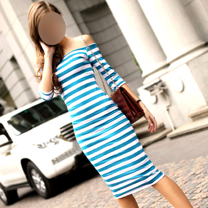 New 2 Colors Women Stripes Half Sleeve Knee Length Midi Casual Off the Shoulder Bodycon Pencil Dress(China (Mainland))