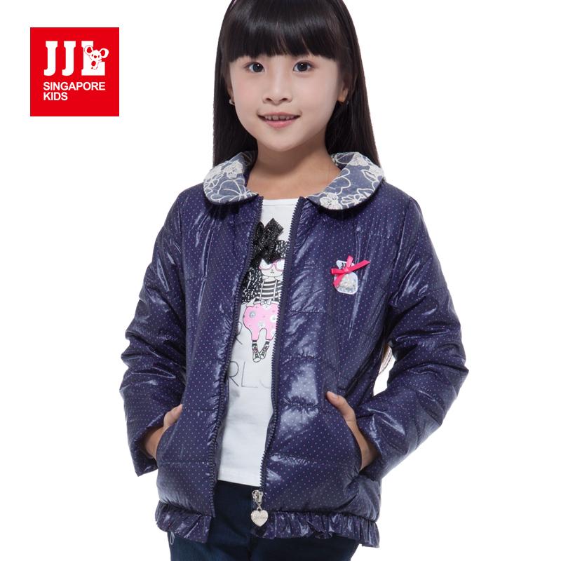 girls coat lace collar polka dot pattern delicate pearl design children winter outwear sweet girls jacket kids parka 2015 new(China (Mainland))