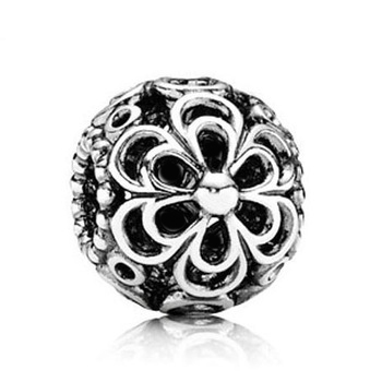 Aliexpress Hot Sell European Style 1Pc Silver Bead Charm 925 Silver Flower Bead Fit Pandora BIAGI