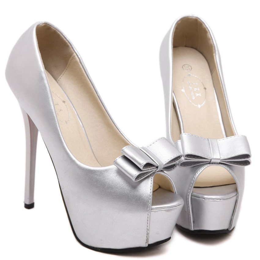 Women Sexy Open Toe Bow Ties Party High Heels Shoes Ladies Platform Ultra High Heel Size 14cm Patent Leather Evening Pumps(China (Mainland))