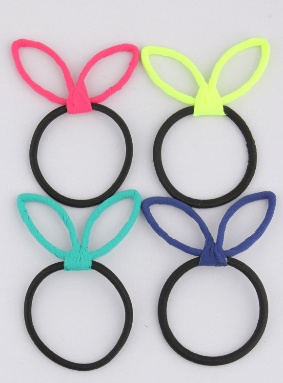 Free Shipping(5pcs/package) girl's candy Fluorescent color hair rope women cat ears Hairbands rubber band hair accessory(China (Mainland))