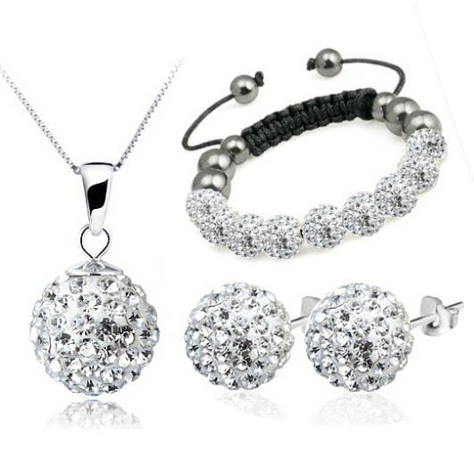 100% Silver 925 Sterling Silver Jewelry Sets Fashion White Shamballa Trio Set Necklace + Earring+Bracelet Solid Silver(China (Mainland))