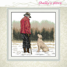 11CT 14CT 9CT  Cross Stitch DIY Dimension Cross Stitch Kits  Embroidery Home Decor Needlework Free Ship The Old Man and His Dog