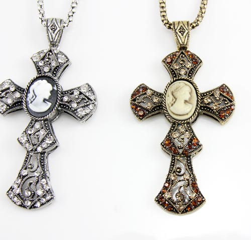 Vintage Cross Cameo women long Necklaces &amp; Pendants fashion antique jewelry jewellery  accessories  nke-f73<br><br>Aliexpress