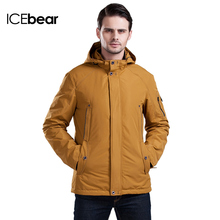 ICEbear 2016 3 Color Large Size Polyester Thin Jacket New Men Spring Casual Outdoor Worm Coat With Hat Zipper Pocket 16MC853(China (Mainland))