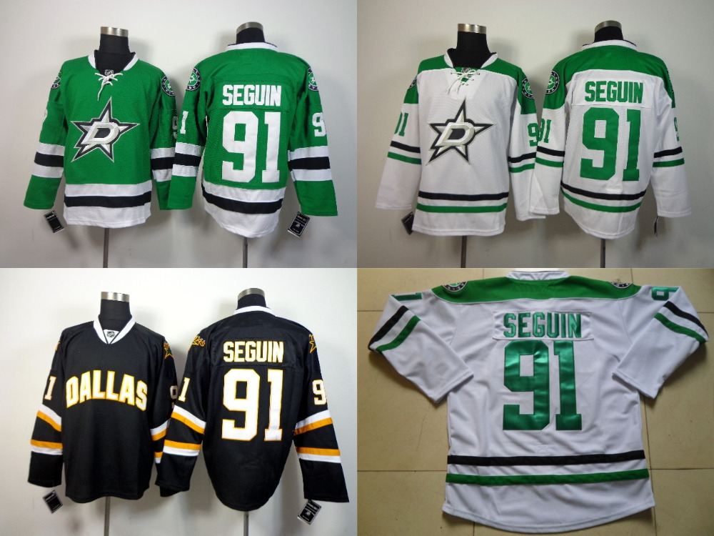 Anthentic #91 Tyler Seguin Dallas Stars Jersey Seguin Hockey Jerseys Cheap Tyler Seguin Jersey Green White Stitched(China (Mainland))