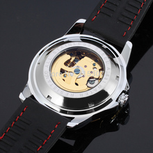 Men watch 2015 Winner skeleton watch with gold color bars index black silicone band free shipping