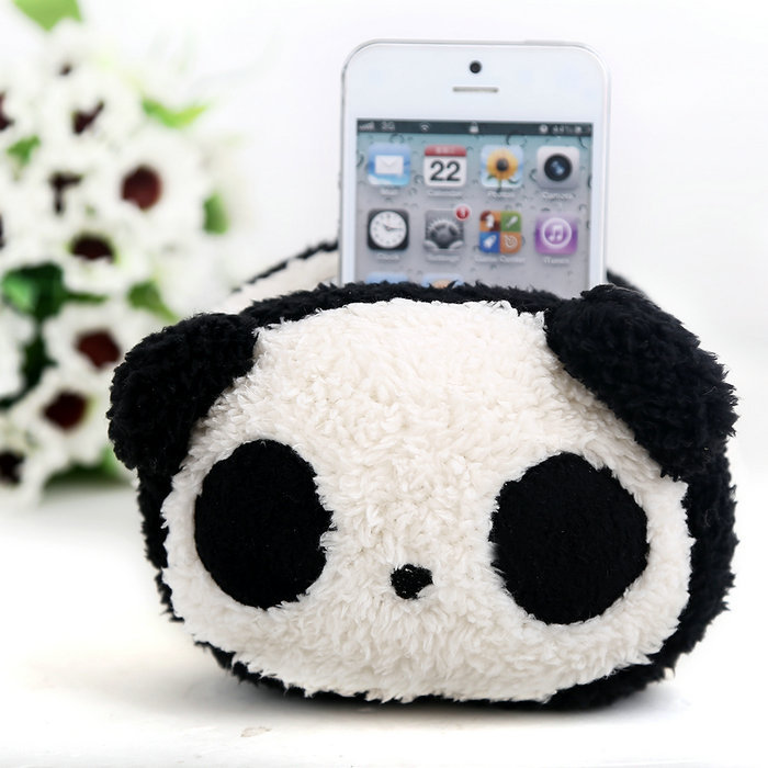 Plush Toy Animal Car Mobile Phone Holder Stand Pouch Case Cute Panda Plush Practical Economical(China (Mainland))