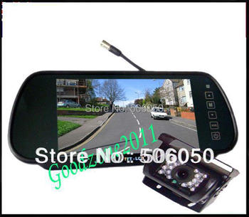 """Car Rear View Back up Camera 18 IR Night Reversing  Camera + 7"""" Mirror monitor+parking assistance Rearview kits +10m cable"""