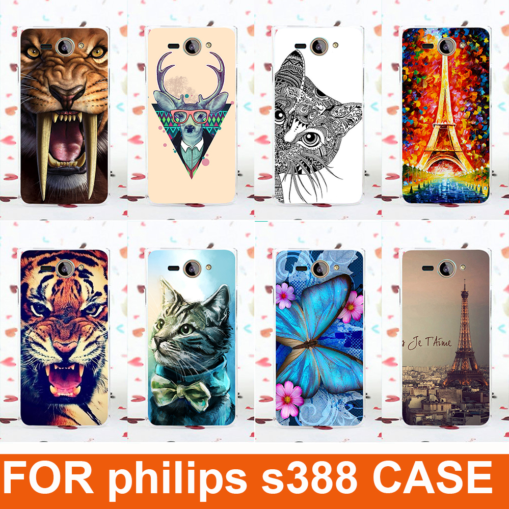 14 patterns Colored painting flowers tiger lion animals eiffel tower Design hard Cell Phones Hard Case For Philips S388 cover(China (Mainland))