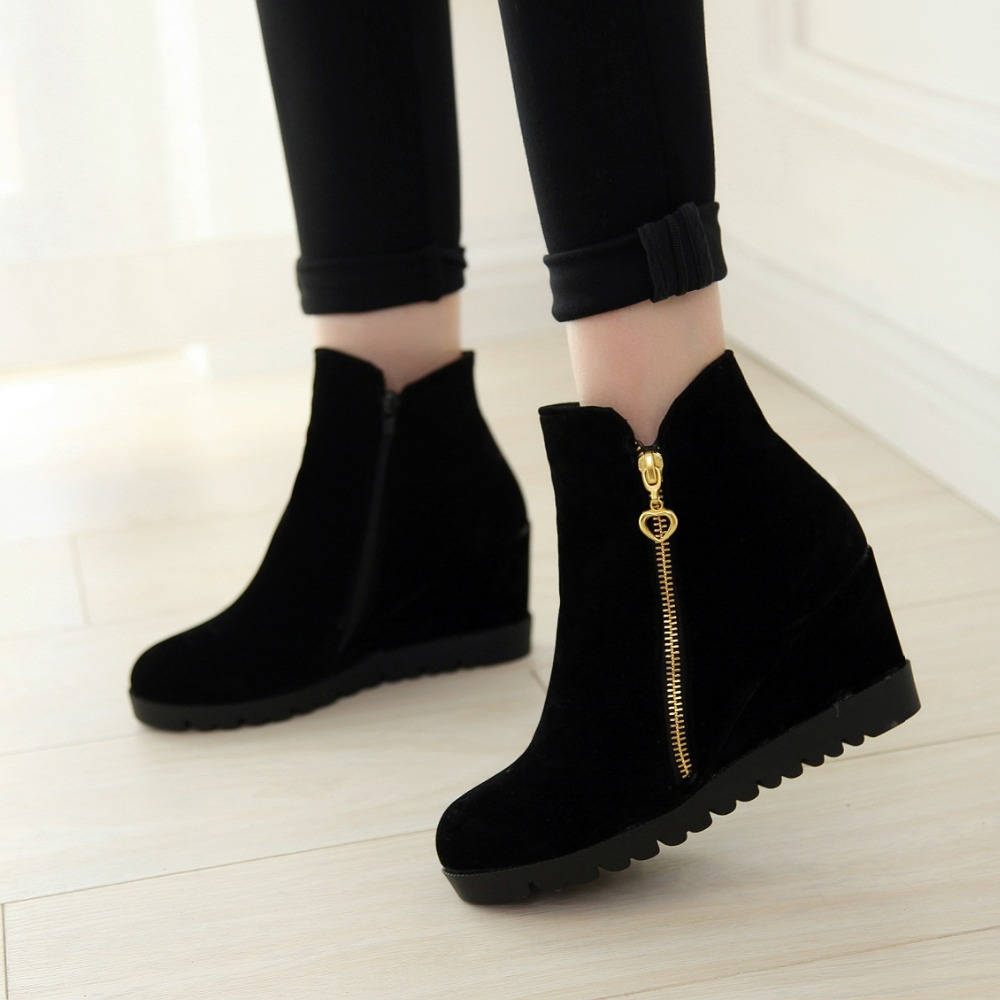 2016 New Fashion Women Winter Ankle Boots Women Hidden Wedges Boots Design Zip Round Toe Women