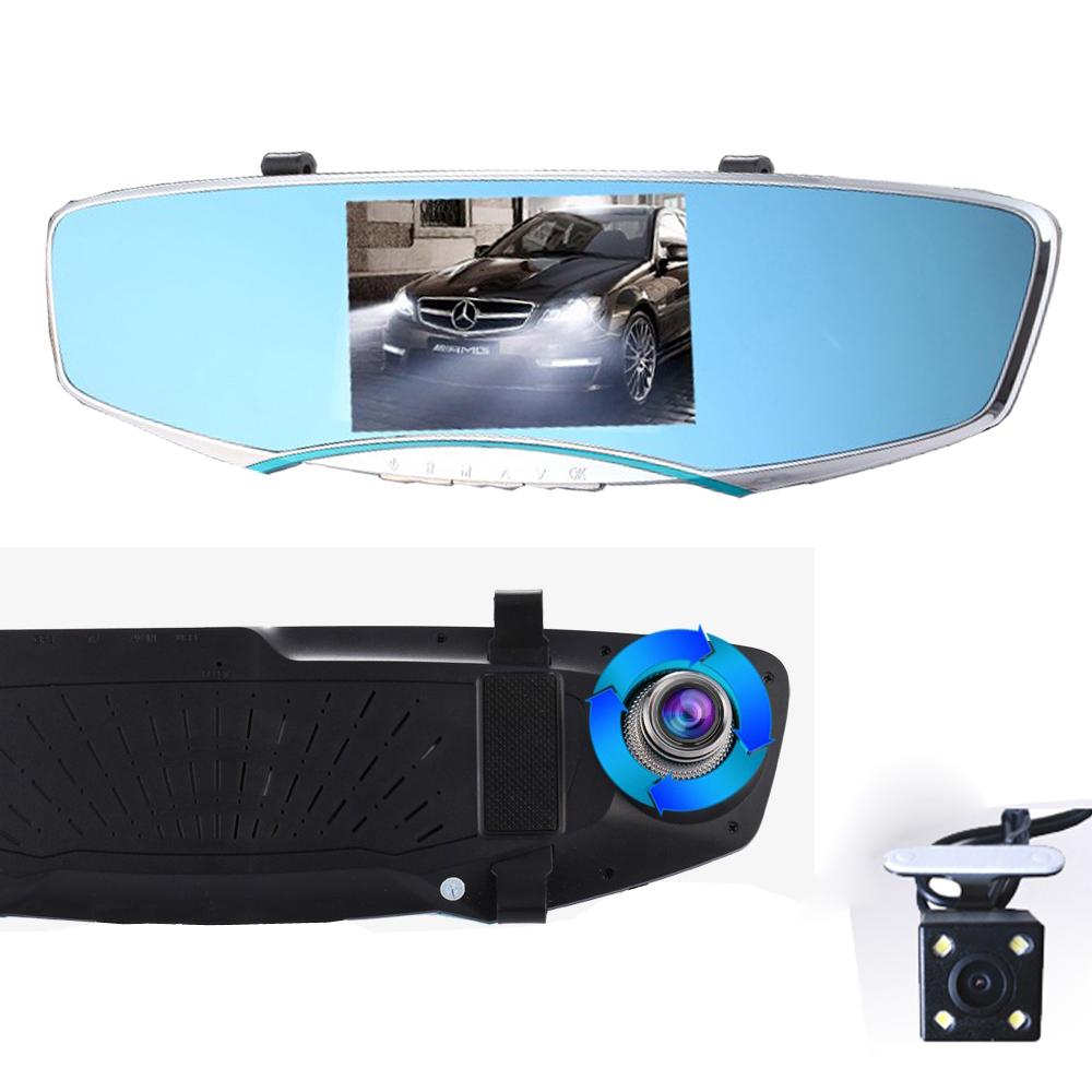 "TTL Brand 5"" inch Car Tachograph Camera Rearview Mirror 1080P Car DVR Recorder Video Registrator Dash Cam Night Vision Dual Lens(China (Mainland))"