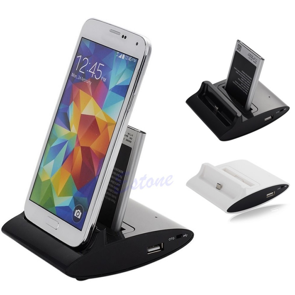A96 Free Shipping 3in1 Dual OTG USB Sync Battery Charger Dock Holder For Samsung Galaxy S4 I9500