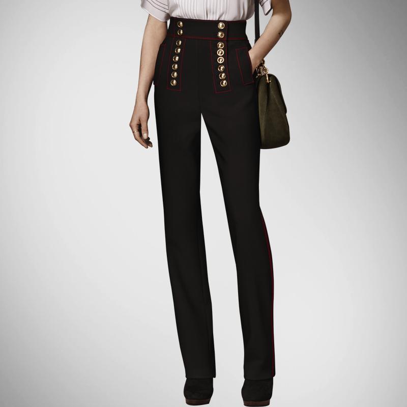 Pantalones mujer ограниченным кнопка регулярные прямые женские брюки 2016 новый летний европейский стиль грудью высокая талия женский женщины