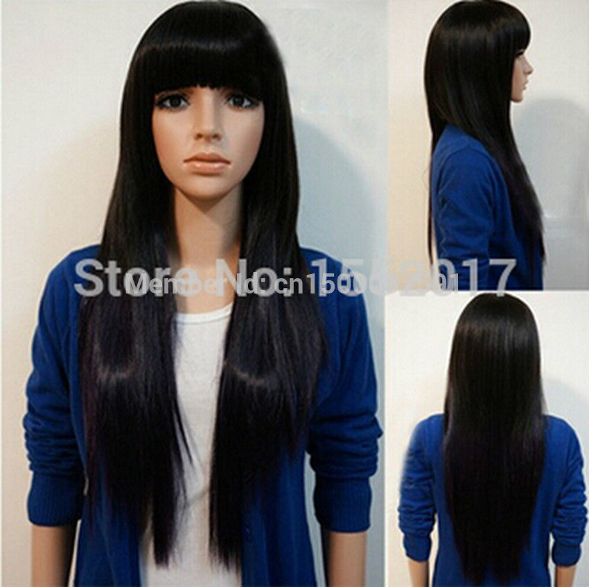 Shipping* *Womens new 80 cm long straight black with neat bongs synthetic hair cosplay wig<br><br>Aliexpress