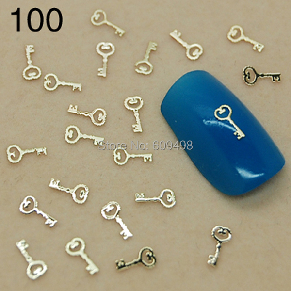 T100 Cheapest!!! 800pcs/lot New nail designs / metal nail art/ gold key studs nail jewelry 3D DIY floating charms 2014(China (Mainland))