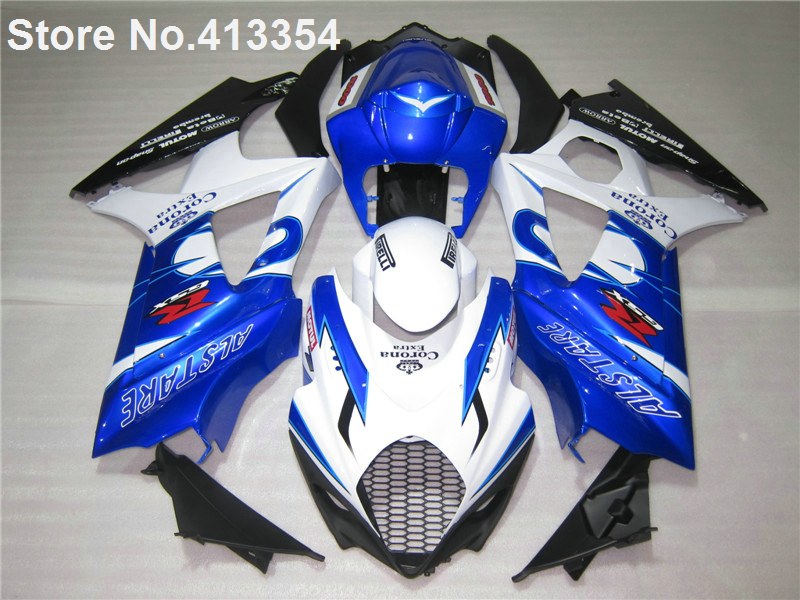 New hot moto parts fairings for 07 08 Suzuki white blue black GSXR1000 K7 K8 fairing kit GSXR 1000 2007 2008 MU37(China (Mainland))