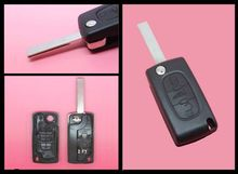 Replacement 3 Button Remote Key Shell Case FOB Peugeot 207 307 SW Uncut Blade HU83 (With Groove) - keyecu's store