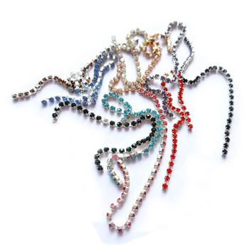 Free Shipping (10cm/pc 10pcs/lot ) 2.5mm Rhinstone Chain Nail Art Decoration 3D Nail Beauty Metal DIY Accessories