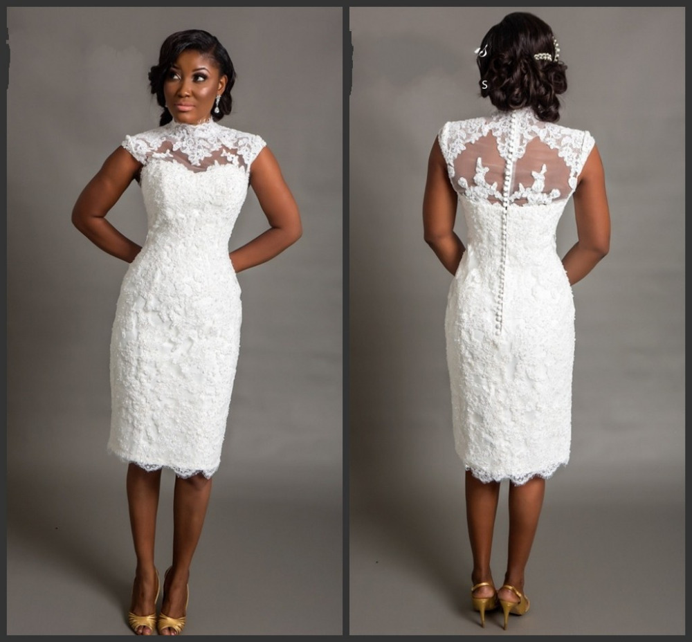 New 2015 white short wedding dresses bride sexy lace for Knee length fitted wedding dresses