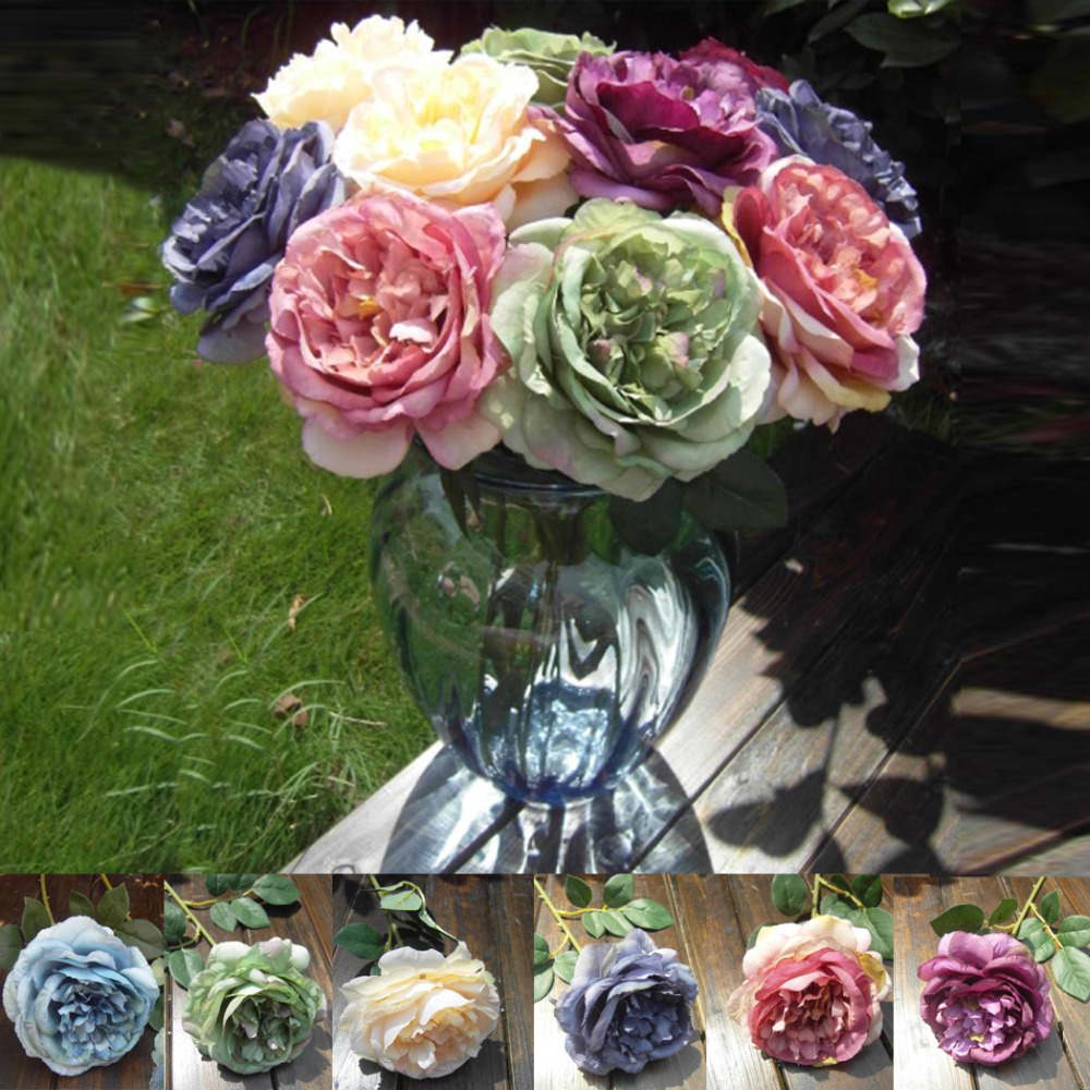 New Peony Rose Silk Flower Wedding Party Decorative Floral Hydrangea Home Dining Table Decor Artificial Plants Korean Style 0123(China (Mainland))