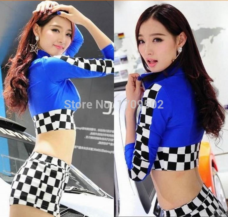 The World Cup football baby red plaid overalls/auto show DS dance costumes/lesbian cheerleader uniform(China (Mainland))