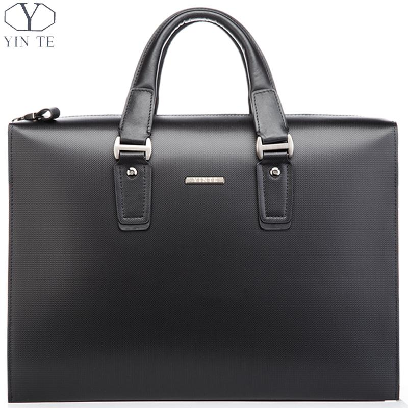Luxury High Class Men's Black briefcase, Classic Plain Genuine Leather Business Working Messenger Laptop Office Handbag(China (Mainland))