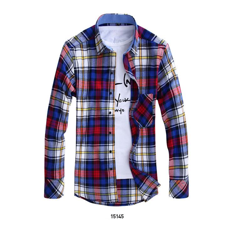 Factory Sale 2015 Men Shirt Causal Shirt Plaid Shirt Men s Long Sleeve Shirt Men 9