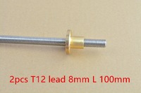 2pcs T12 12mm screw L 100mm lead 8mm 304 stainless steel trapezoidal screw with 2pcs flange brass copper nut #T12-2-D8-100-2