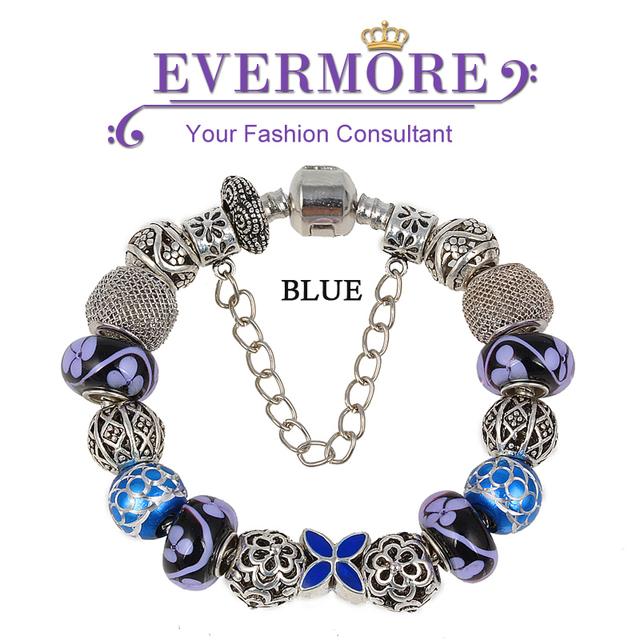2016 nueva llegada de moda estilo europeo pulsera de plata con púrpura cristal Murano bisutería DIY