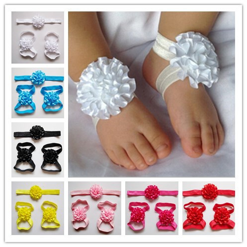 Retail Newborn baby flower headband barefoot sandal sets satin flower hair accessories for Photography props 9colors pick(China (Mainland))