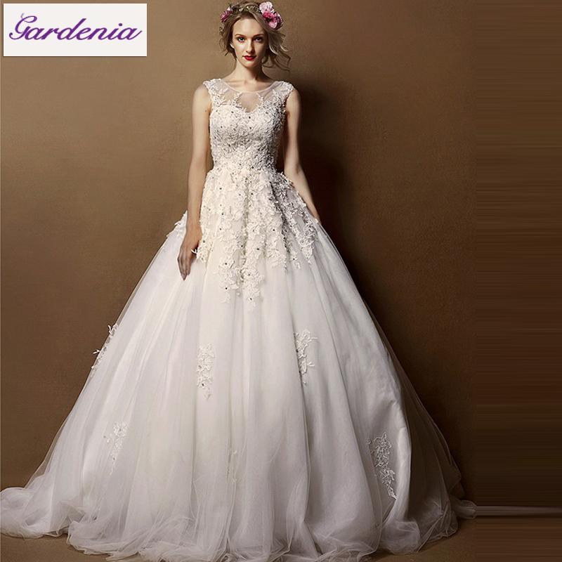 Real photos unique designer tulle applique wedding for Unique wedding dresses with sleeves