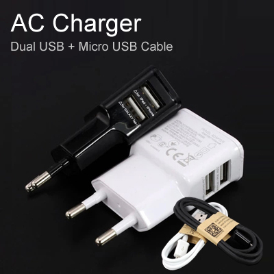 A18 5V/ 2A Dual USB Wall Charger Adapter EU Plug AC Power Charger 2 Port + 1pcs Micro USB Cable for Samsung Phone(China (Mainland))