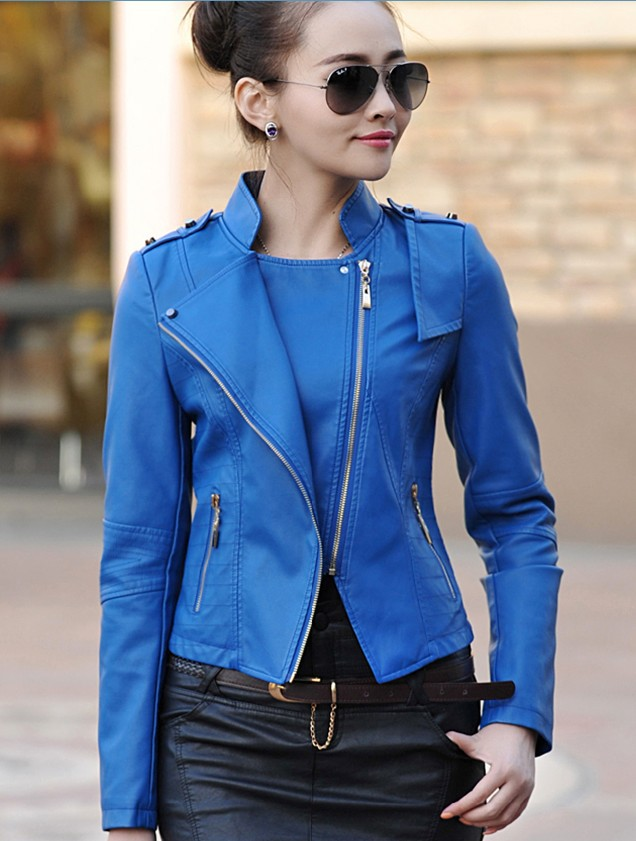 Womens blue leather motorcycle jacket – Modern fashion jacket ...