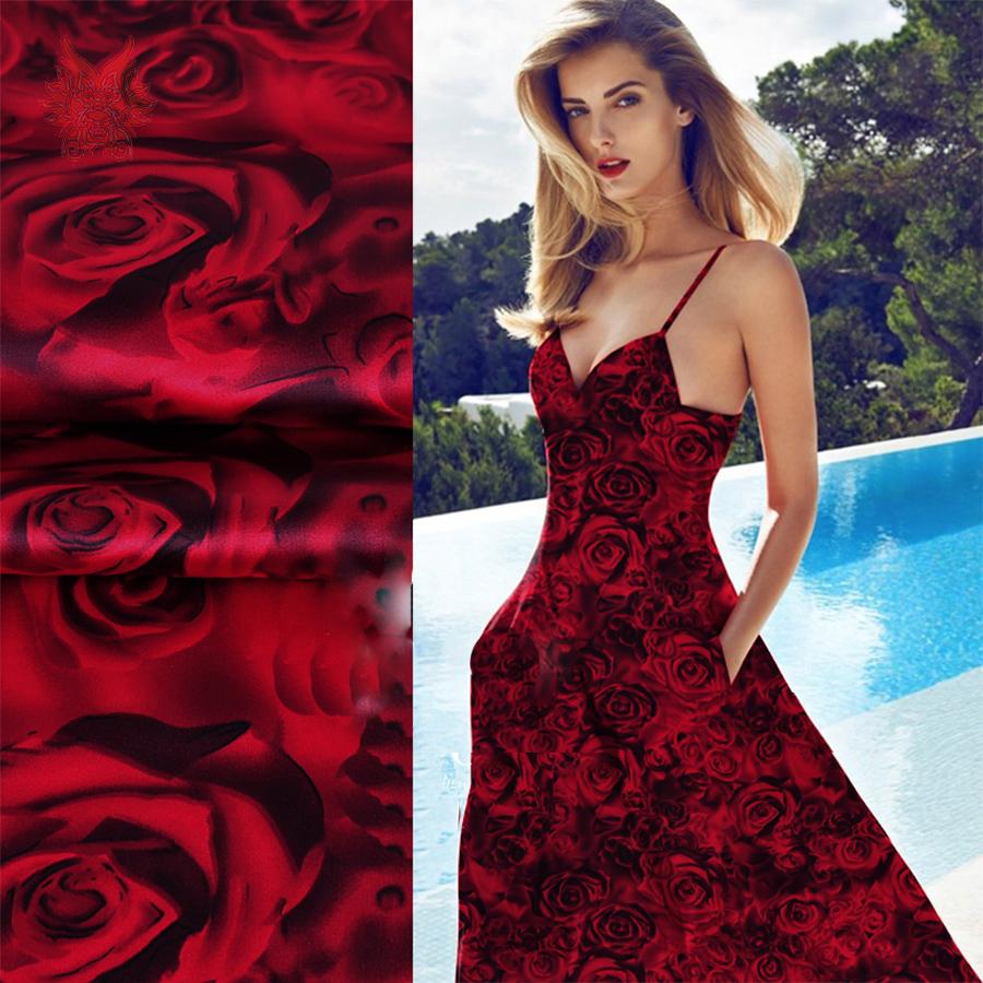 Designer luxury red rose print spandex silk satin fabric for dress shirt 19mm silk satin fabric cloth tela tejido tissue SP3361(China (Mainland))